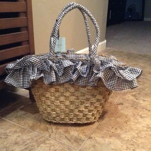 NWT Cynthia rowley straw gingham bag large